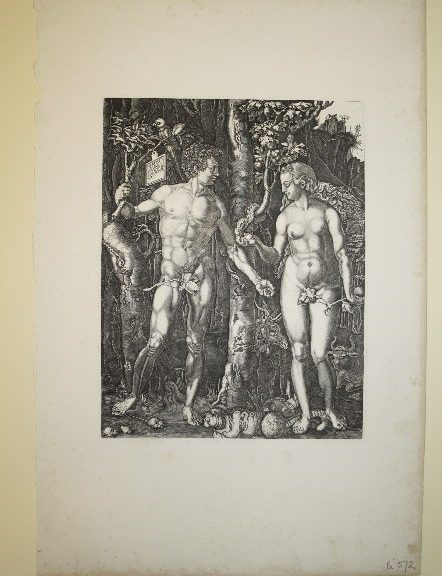 Adam and eve (male and female character) looking at each other, stood surrounded by trees.