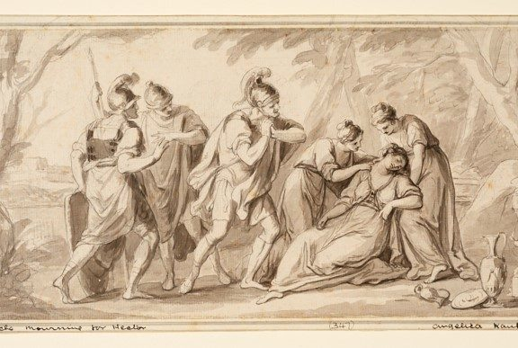 Roman scene with lady fainting with her lady's in waiting tending to her. Roman soldiers also watching as this happens.