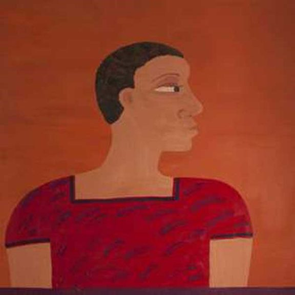 Oil painting of afro-Caribbean lady looking to the right hand side wearing bright red dress.