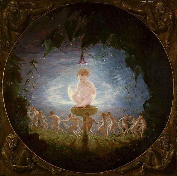Oil painting of baby in centre surrounded by foliage and trees, with small people dancing in a circle underneath him.