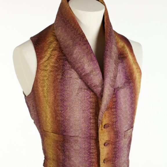 waistcoat orange purple ombre woven jacquard