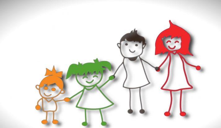 Illustration of family holding hands