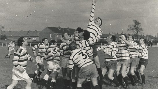 A rugby football match at preston Grasshoppers