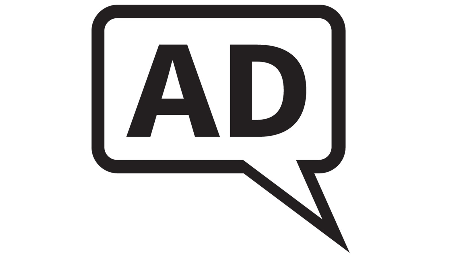 Black speech bubble with the letters 'AD' inside it.