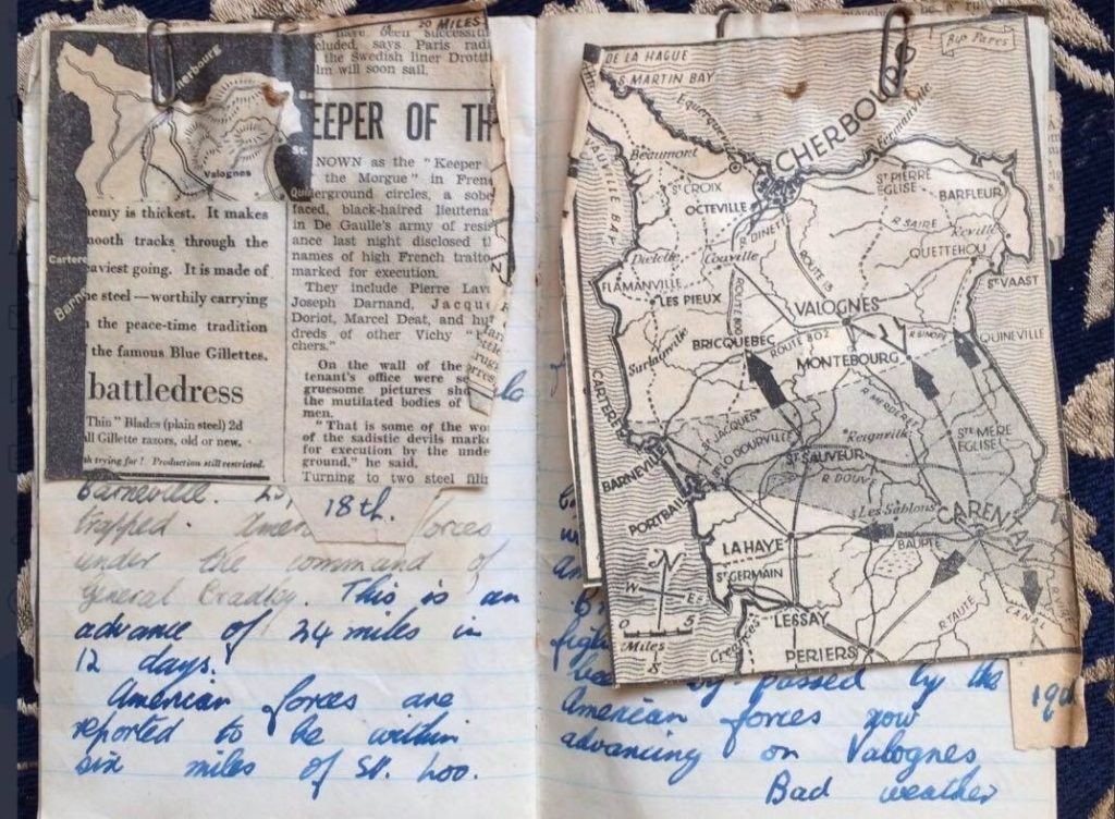 Cup up maps stuck into a diary with handwritten messages written in blue fountain pen.