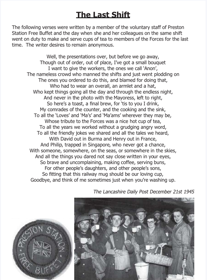 A poem titled 'The last day' with a photo of soldiers underneath stood drinking tea. Another photo of a badge that says 'Preston Station Free Buffet with a great British flag in the middle of the badge. '