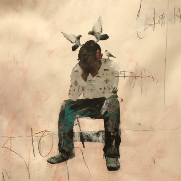 Art work by UCLan Fine Art Student When the days are too long and the weight is too heavy': by Lynne Shaw (Mixed Media)