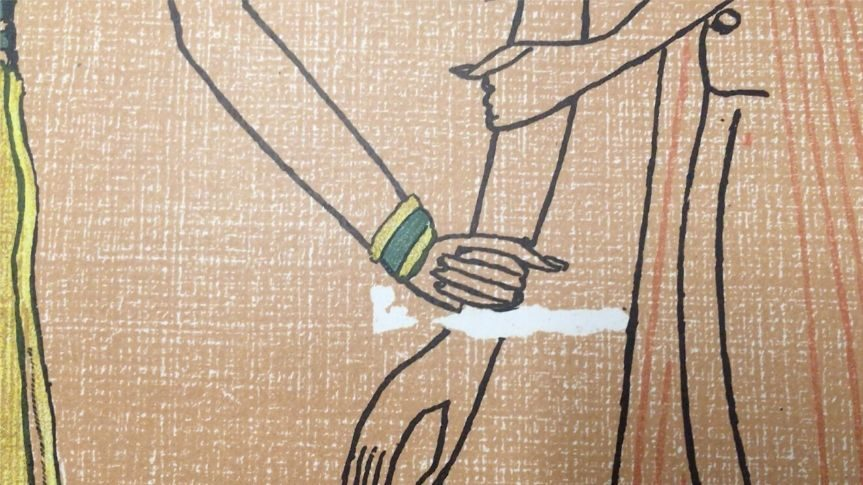 Close up of egyptian book page, drawing of egyptian figure's arms. A hand holding onto another figure's wrist.