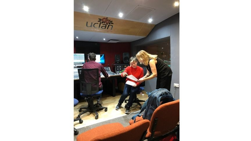 Artist Abigail Reynolds in recording studio with Lorraine recording voice over for video piece