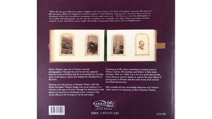 Back of photography book made by Robert Pateson. Shows 4 figure heads in old portrait photographs with blurb about the book
