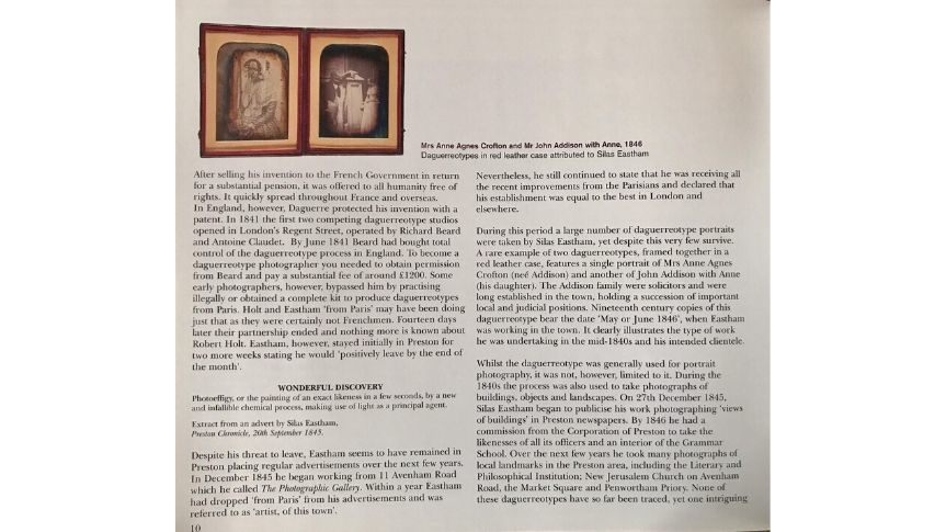 Inside of the photography book created by Robert Pateson, shows a daguerreotype and text about imagery