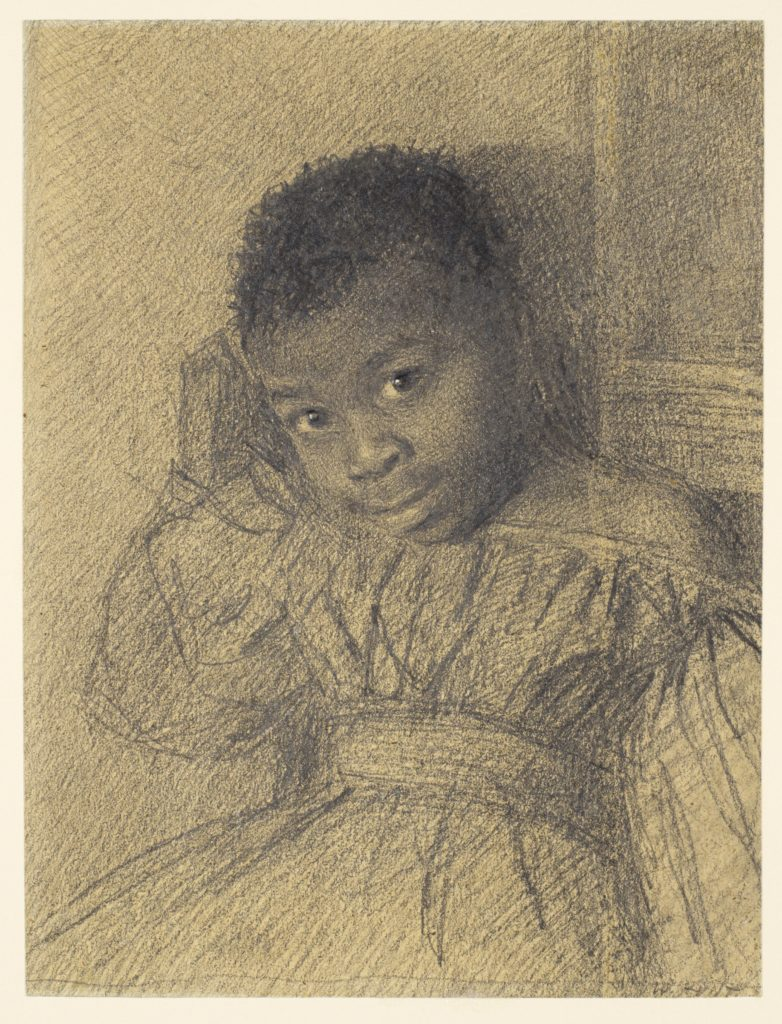 pencil drawing of small black girl looking towards you with a slight smile.