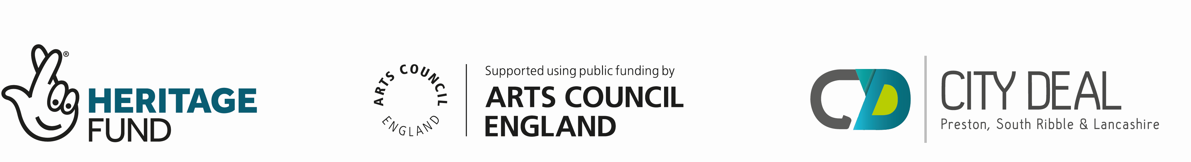 Heritage Fund, Arts Council and City Deal logos