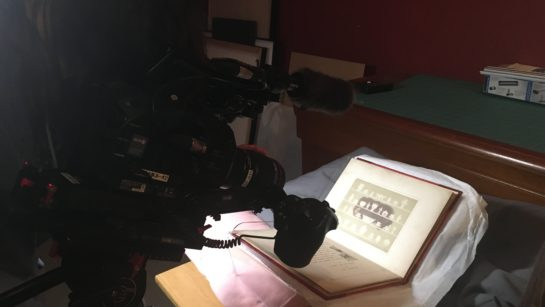 Historic book being photographed