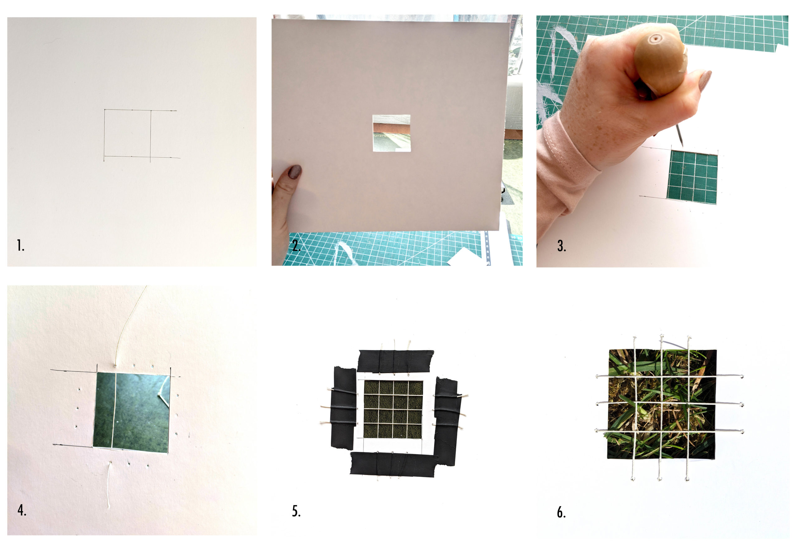 Grid of photos showing artist make her piece step by step