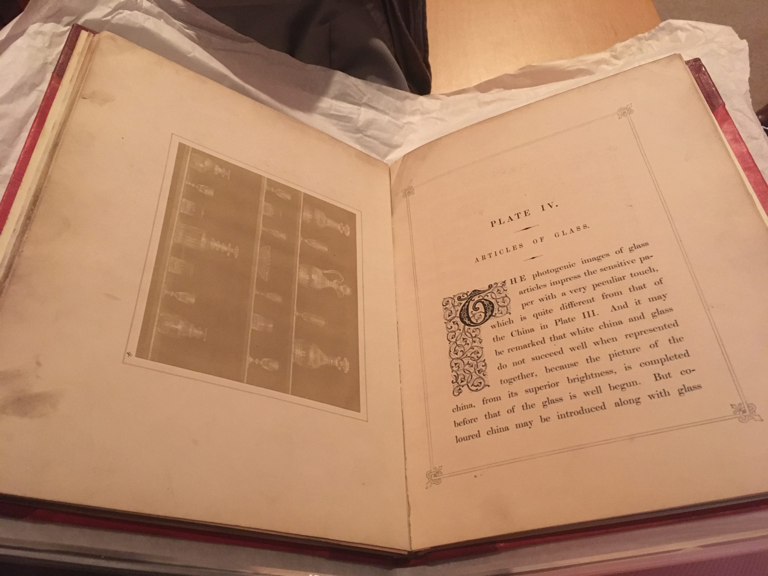 Photo of inside of the large old book 'Pencil of Nature.'