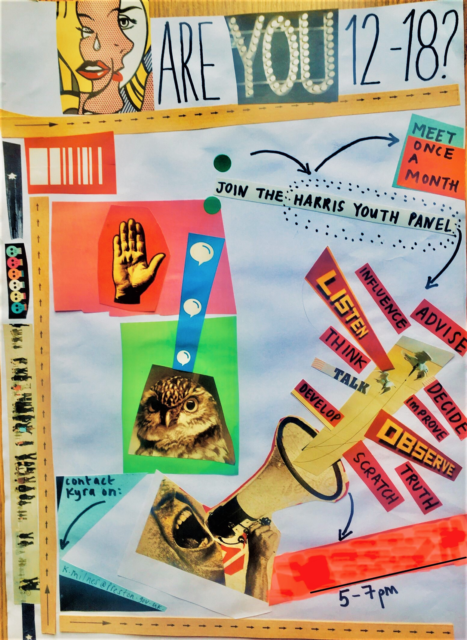 Colourful collaged poster