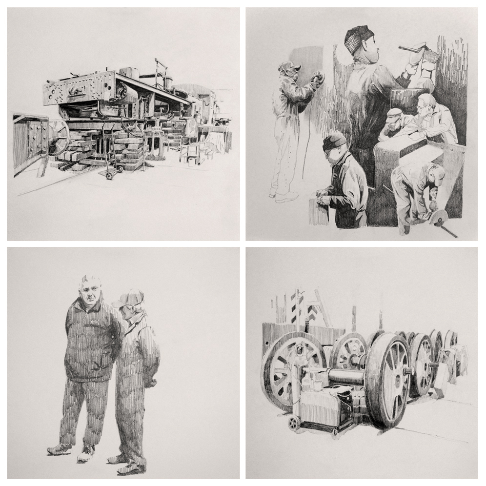 4 sketches. two of people and 2 of machinery in black ink