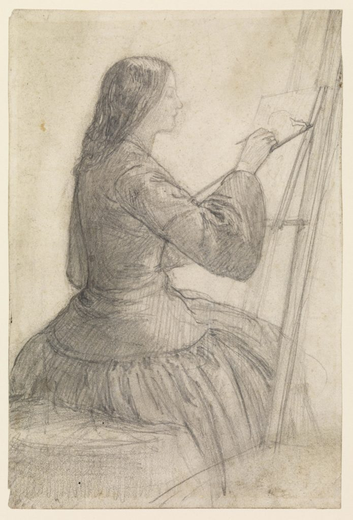 pencil sketch of a lady sat painting on a canvas on an easel