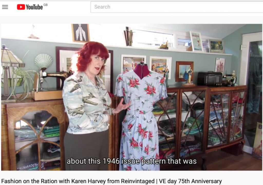 Image of lady speaking to camera showing a 1940s garment
