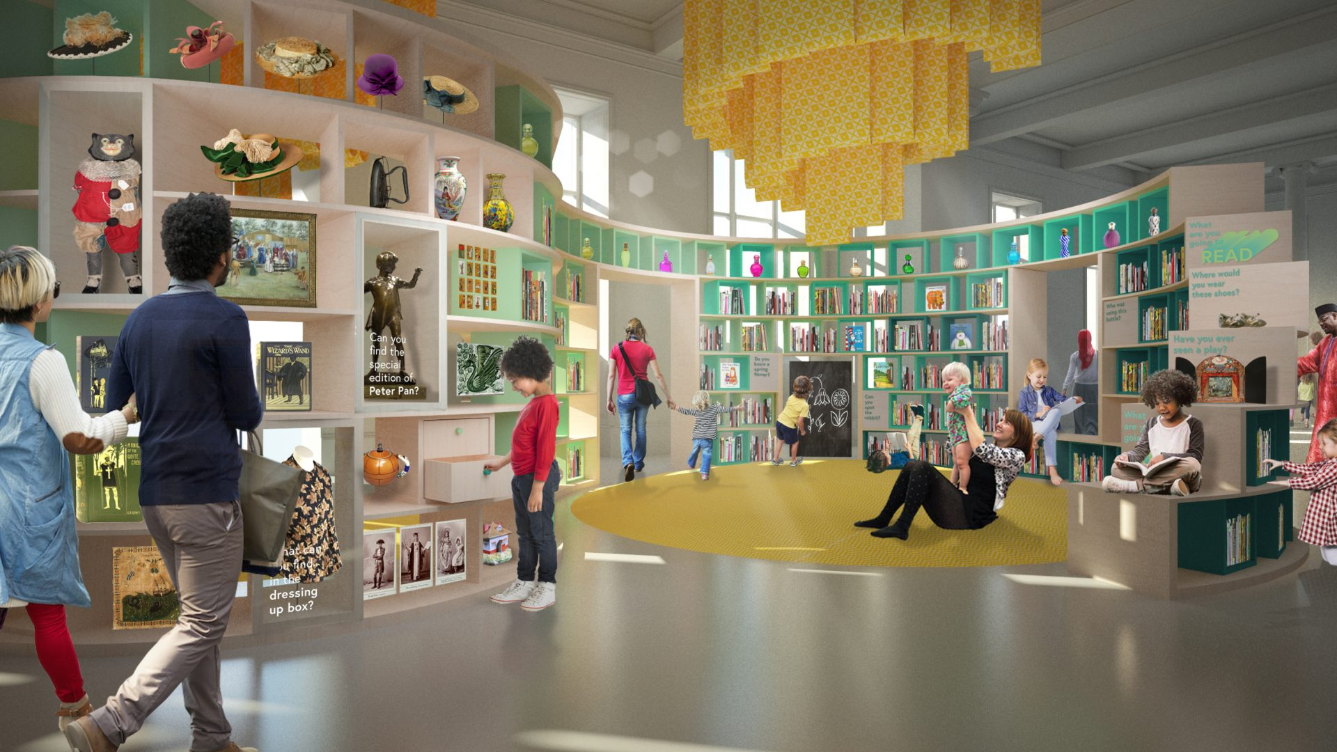 computer generated image of the proposed designs for the Children's library. A colourful space with visitors walking around enjoying the space, looking at artefacts and sitting reading books.
