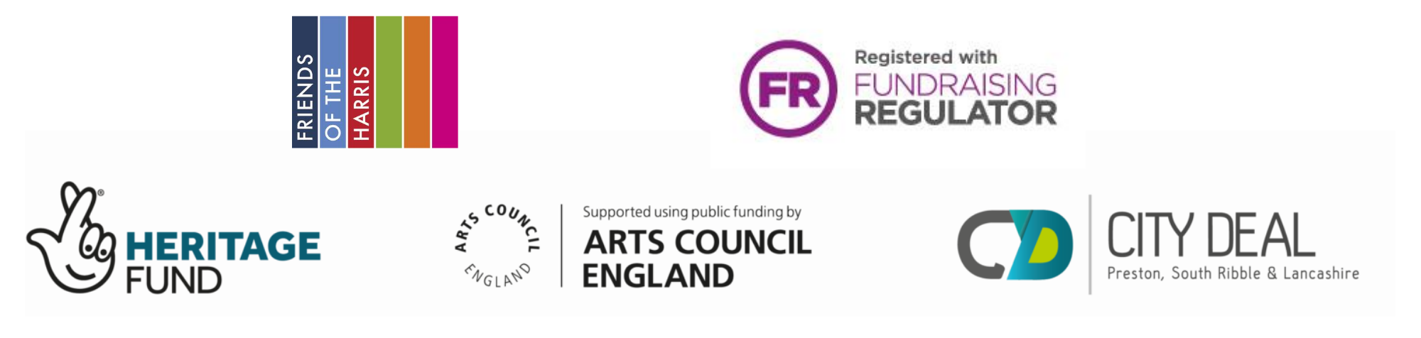 Friends of the Harris Logo, Fundraising Regulator Logo, Heritage Fund Logo, Arts Council England Logo, City Deal Logo