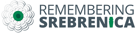 Remembering Srebenica logo - white flower with green centre and the words 'REMEMBERING SREBENICA' next to the flower. The 'I' in Srebrenica is in the shape of a coffin.
