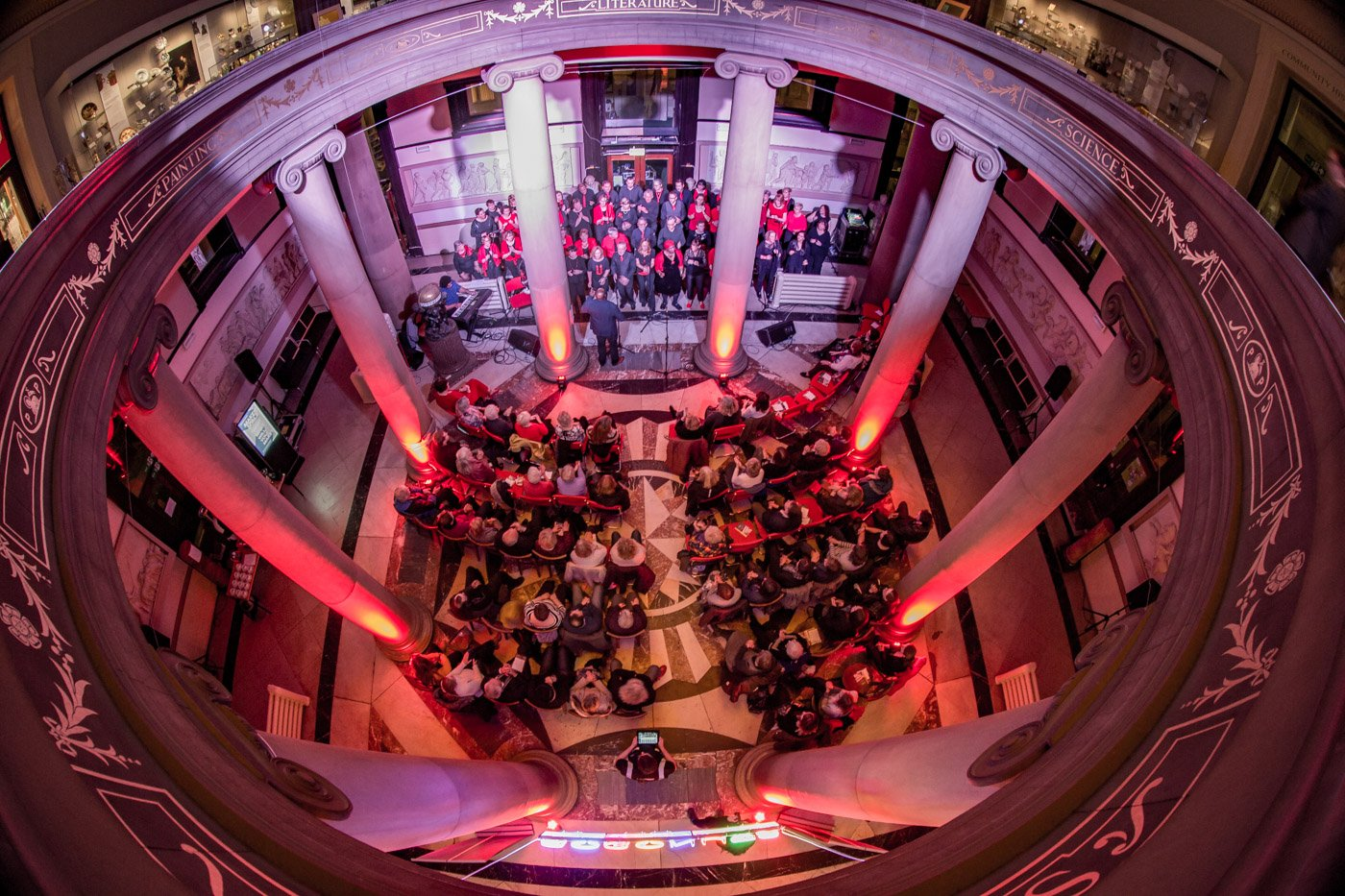 The Harris rotunda filled with people at an event