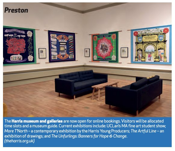 Screenshot of the feature on the Harris exhibitions. The photo shows the Unfurlings exhibition gallery.