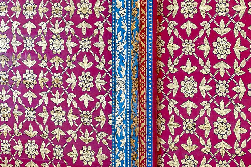Intricate Asian Fabric with patterns