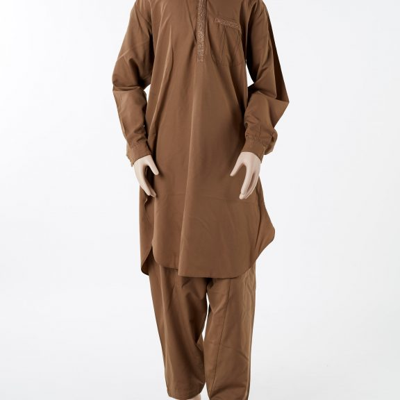 Image shows a mannequin wearing a khaki coloured suit made of a long knee-length shirt and pants. Both pieces are made from a khaki coloured cotton, the shirt has embroidery on the collar and down the front along the button holes.