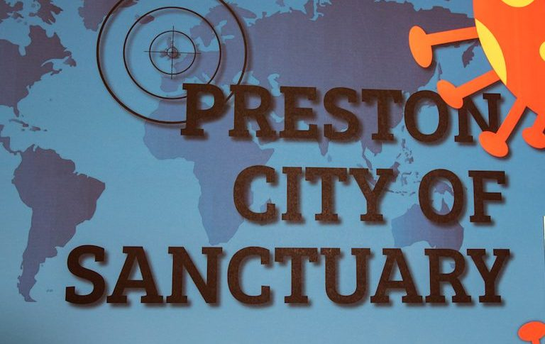 Artwork that says Preston City of Sanctuary
