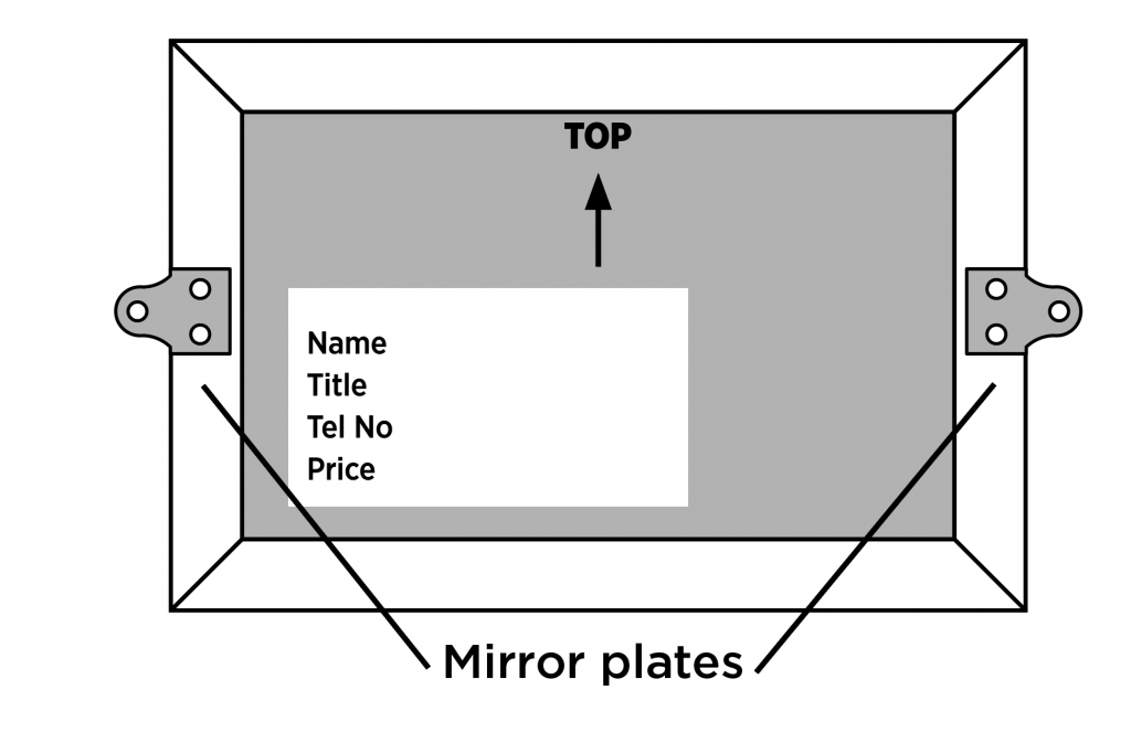 Diagram on how to fix mirror plates to your artwork entry