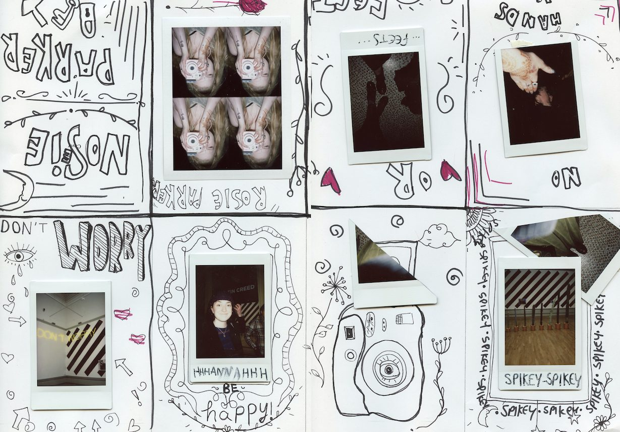 collage of polaroid photos with young people