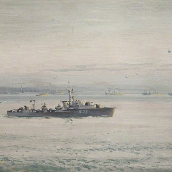 Image of the painting Destroyer Off the Normandy Beaches