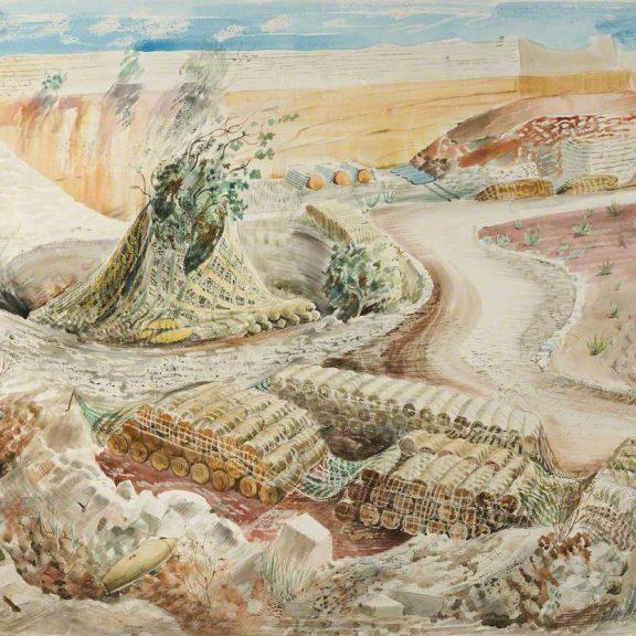 Image of the watercolour Malta RAF Bomb Dump
