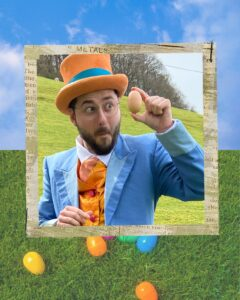 Man in a top Hat with a chicken egg