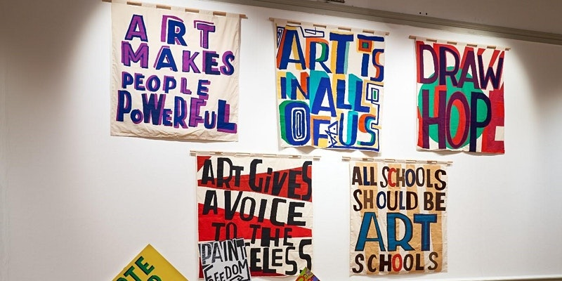 Artist banners on the gallery wall